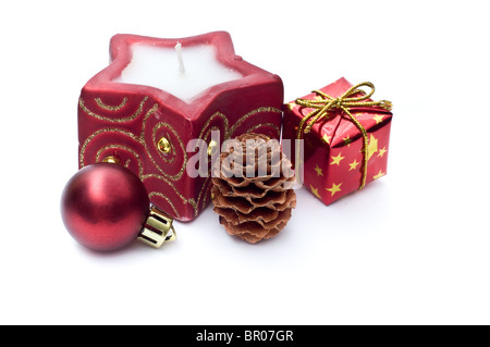 Christmas candle and decoration - Stock Photo