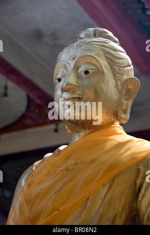 Southeast Thailand, Ko Samui (aka Koh Samui). Temple of Big Buddha on Fan Island. Golden Buddha statue. - Stock Photo