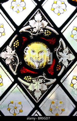 Medieval stained glass, Gloucester Cathedral, Gloucestershire, England, UK - Stock Photo