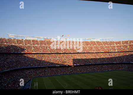 Camp Nou stadium in Barcelona prior to the 2010 Joan Gamper trophy match against AC Milan - Stock Photo