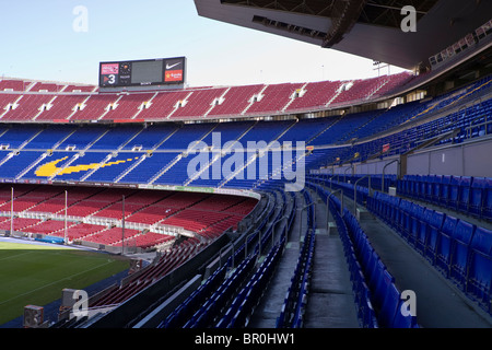 Seating in Grandstand and South goal end at Camp Nou stadium in Barcelona - Stock Photo