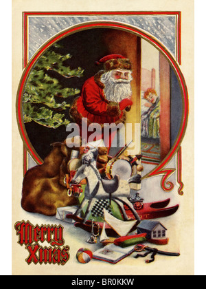 Vintage Christmas card of Santa Claus with gifts,checking to see if a child is asleep - Stock Photo