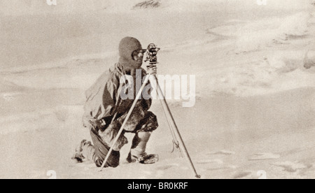 Captain Evans observing with the theodolite used by Captain Scott to fix position of the South Pole. - Stock Photo