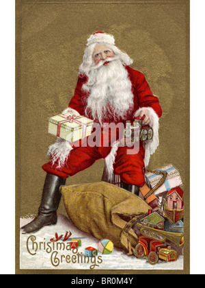 Vintage Christmas card of Santa Claus with a sack full of presents - Stock Photo