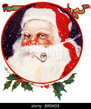 Vintage Christmas card of Santa Claus smoking a pipe - Stock Photo