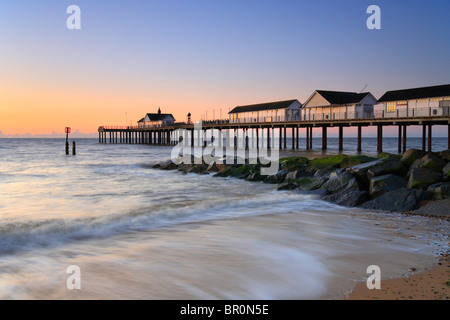 Southwold Pier at dawn, Suffolk Coast. - Stock Photo