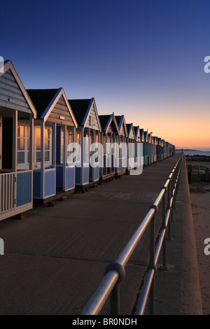 Beach huts, Southwold North beach, Suffolk, East Anglia, Dawn, Sunrise - Stock Photo