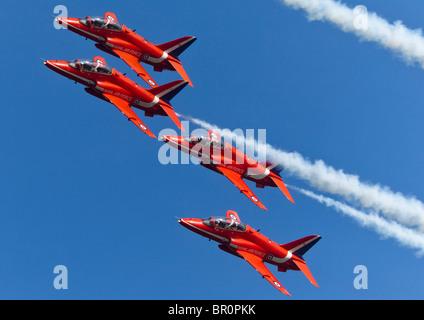 The RAF Red Arrows Aerobatics Display Team at Chatsworth Country Fair - Stock Photo