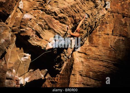 Rock climber. Red Rocks, Las Vegas, Nevada, USA. - Stock Photo