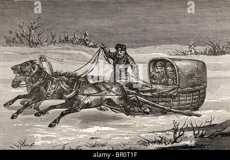 A Russian covered sledge in the nineteenth century. - Stock Photo