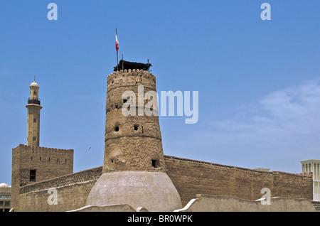 Al Fahidi Fort now houses Dubai Museum and is the oldest building in Dubai UAR - Stock Photo