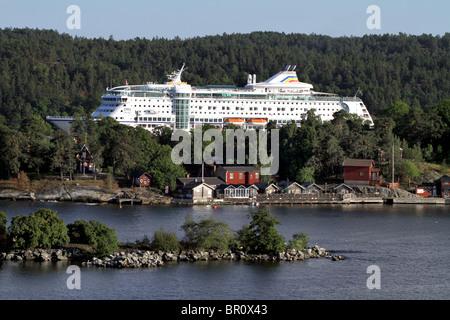 Birka Paradise Cruise Ship in the Stockholm Archipelago in Stockholm, Sweden - Stock Photo