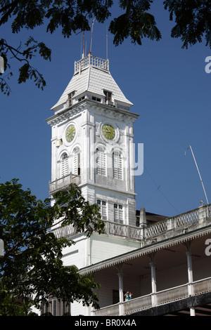 The clock tower of the House of Wonders in Stone Town, Zanzibar, Tanzania - Stock Photo