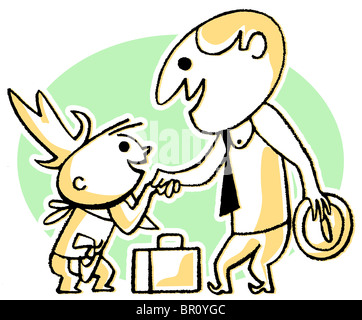 A cartoon style drawing of a business man greeting a small child - Stock Photo