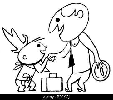 A black and white version of a cartoon style drawing of a business man greeting a small child - Stock Photo