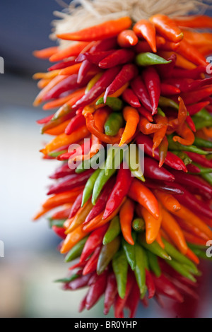 chile ristra decoration hanging dried Santa Fe, New Mexico, traditional Fall arrangement strand of peppers - Stock Photo