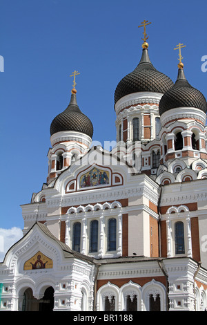 Domes of the Alexander Nevsky Cathedral in Tallinn, Estonia - Stock Photo
