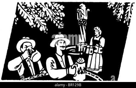 A group of people enjoying Oktoberfest festivities - Stock Photo