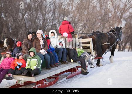 Horse-drawn sleigh ride in winter, Festival du Voyageur, Winnipeg, Manitoba, Canada. - Stock Photo