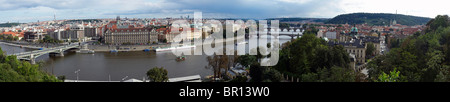 Prague panorama, City bridges over the Vltava as seen from Letna Park - Stock Photo