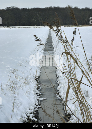 Drainage ditch on a field in winter near Barum, Elbmarsch, Germany. - Stock Photo