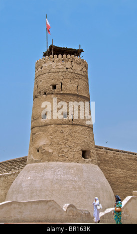 Crenellated Watch Tower Al Fahidi Fort now houses Dubai Museum and is the oldest building in Dubai UAR - Stock Photo