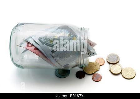 Money jar with Euros - Stock Photo