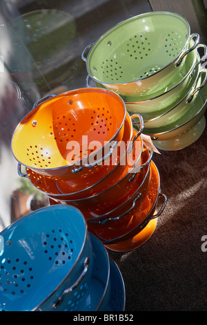 Stacked colanders in a store window in Boston. - Stock Photo