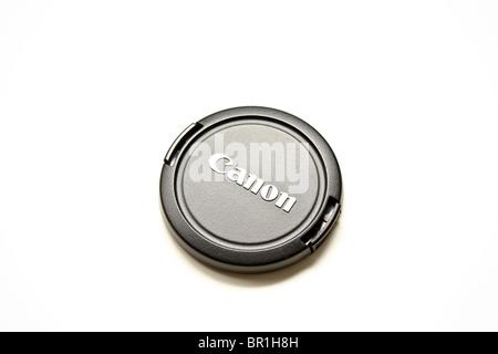 black canon lense lens cap - Stock Photo