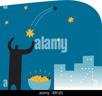 Silhouette of a man collecting falling stars - Stock Photo