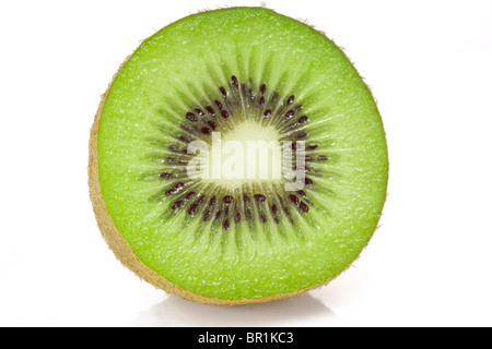 Kiwi half and round slice macro on a white background - Stock Photo