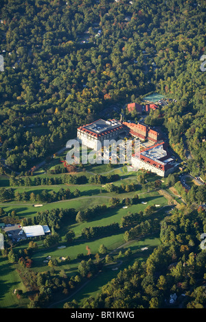 Aerial view of the Grove Park Inn and golf course in Asheville, NC - Stock Photo