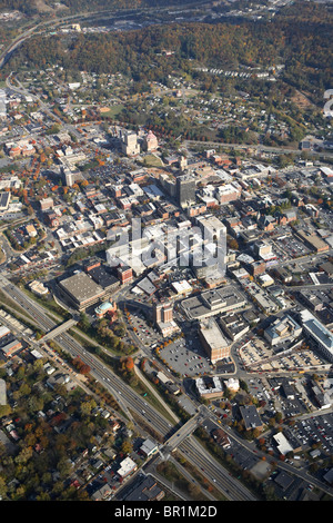 Aerial view of downtown Asheville, NC in the fall. - Stock Photo