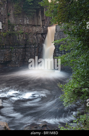 The River Tees Flowing Over High Force Waterfall Upper Teesdale County Durham UK - Stock Photo