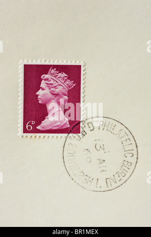 6d British Postage Stamp purple 1967 to 1969 - Stock Photo