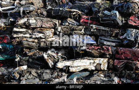 Piles of scrap cars - Stock Photo
