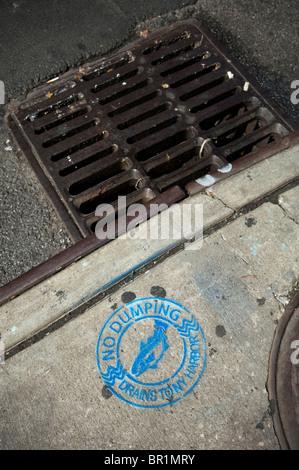A Warning Sign No Dumping Drains To New York Harbor