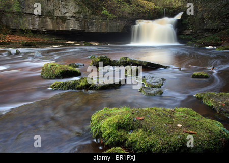 Waterfall at West Burton in Yorkshire Dales - Stock Photo