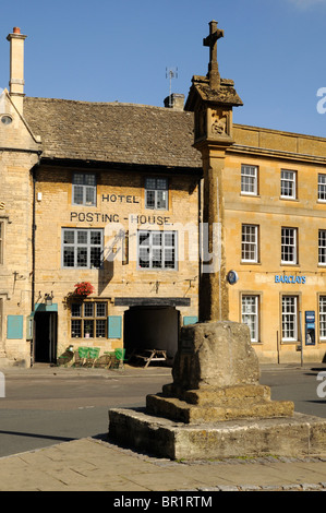 The Market Cross Stow on the Wold The Cotswolds - Stock Photo