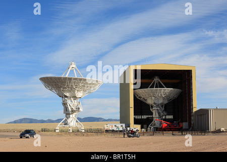 Giant radio telescope dishes in the Very Large Array, New Mexico. - Stock Photo