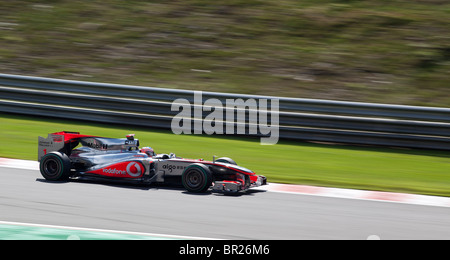 Jenson Button drives the Vodafone McLaren Mercedes Formula One car at the Belgian Formula 1 Grand Prix in Spa, during - Stock Photo