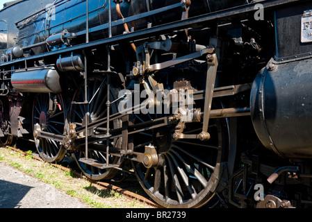 Mecanism of steam loco drive wheels - Stock Photo