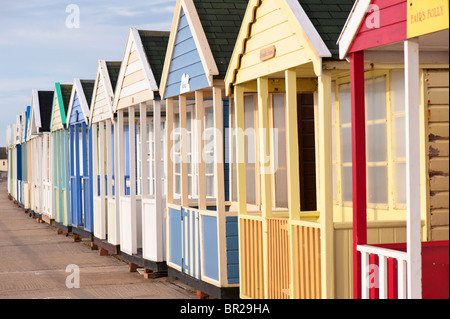 Beach huts overlooking the sea, Southwold, Suffolk, England, United Kingdom - Stock Photo