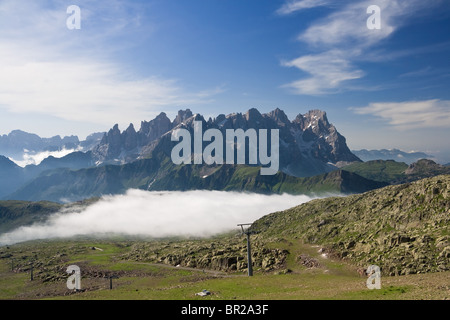 summer view of dolomites mountain with cableway near San Pellegrino pass, Trentino, Italy. On the background Pale - Stock Photo