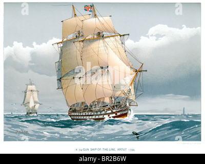 A 74 Gun Ship of the line of the British Royal Navy on the high seas from about 1794. - Stock Photo