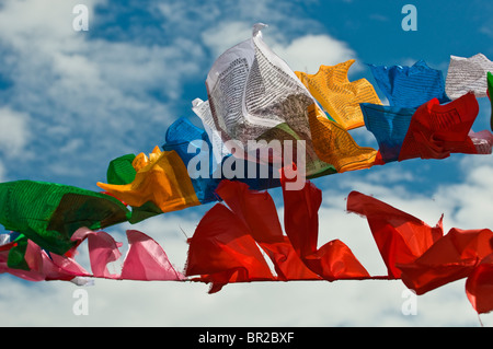 Tibetan Buddhist prayer flags fly above folk festival, Danba, Sichuan Province, China - Stock Photo