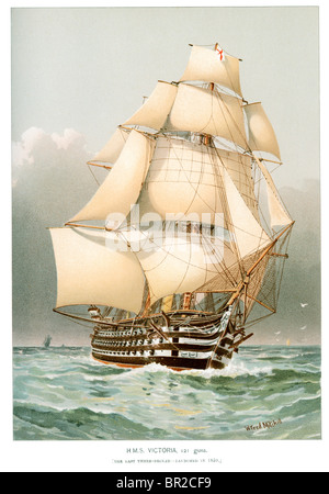 HMS Victoria was the last British wooden first-rate three-decked ship of the line. - Stock Photo