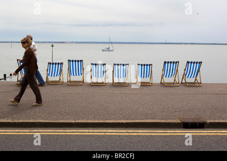 Deckchairs Leigh on Sea Essex England UK - Stock Photo