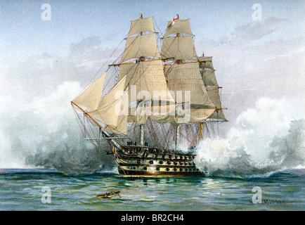HMS Victory first rate ship of the line of the Royal Navy Lord Nelson's flagship at the Battle of Trafalgar. - Stock Photo