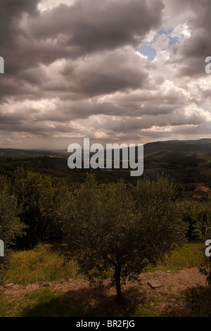 storm clouds gather over the countryside overlooking the Tavernelle Valley near Perugia Italy - Stock Photo